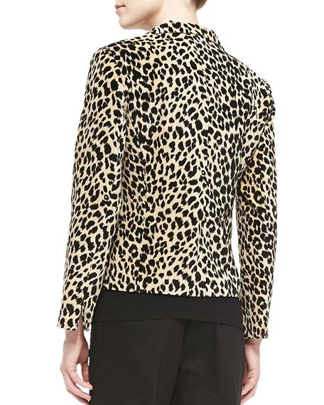 Open-Front Leopard-Print Jacket