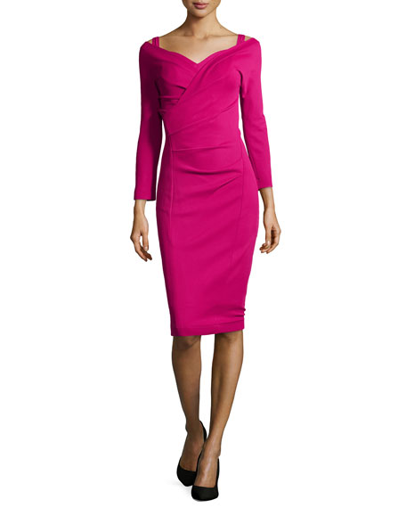 3/4-Sleeve Draped Dress, Cyclamen