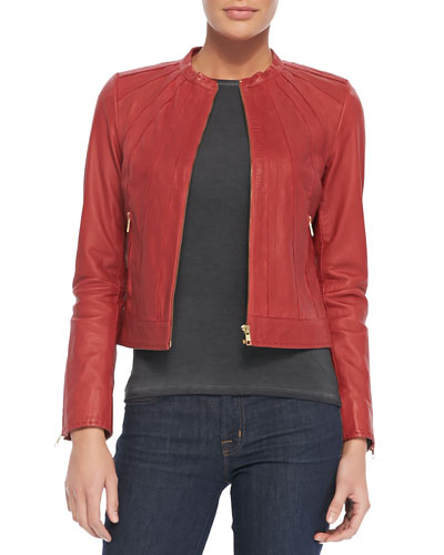 Bagatelle Seamed Zip-Front Leather Jacket