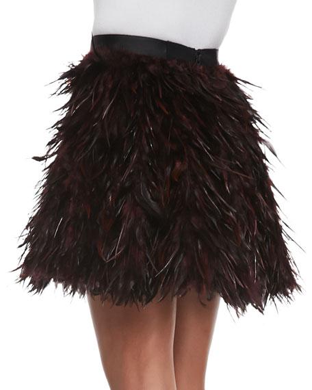 Cina Flared Feather Miniskirt