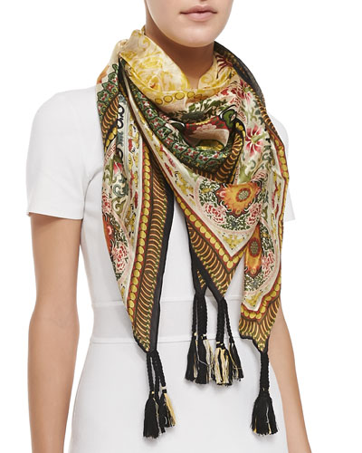 Johnny Was Collection Dragon Printed Silk Scarf