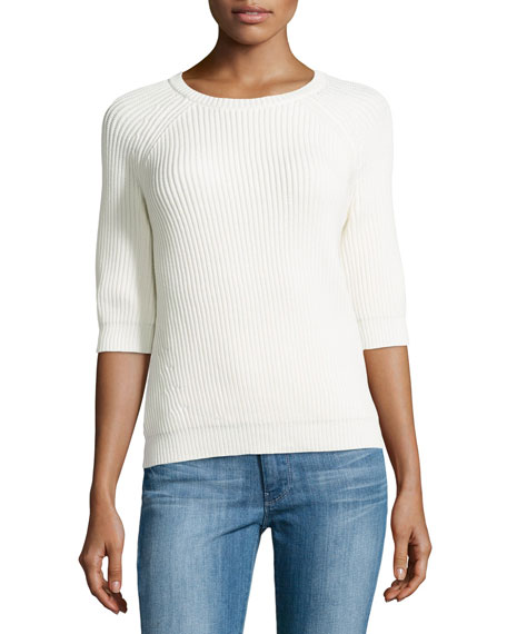 Ribbed Zip-Back Sweater, Chalk