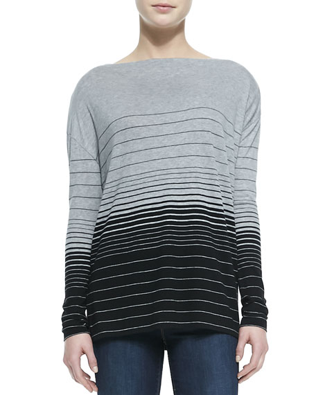 Striped Boat-Neck Tee, H Dusk-Black