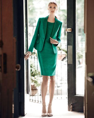 Bead-Trim Sheath Dress with Jacket