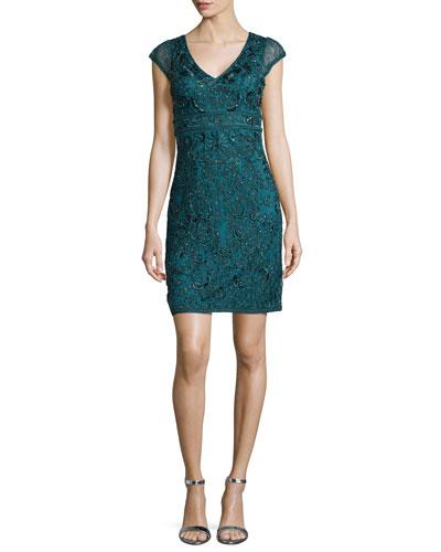 Cap-Sleeve V-Neck Beaded Lace Sheath Dress, Forest