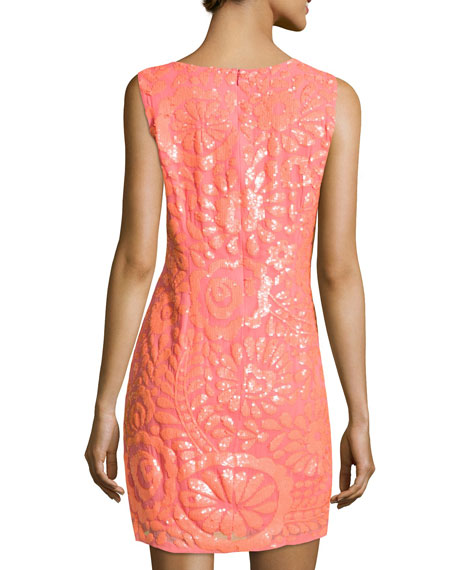 Floral-Sequined Chiffon Dress, Sherbet