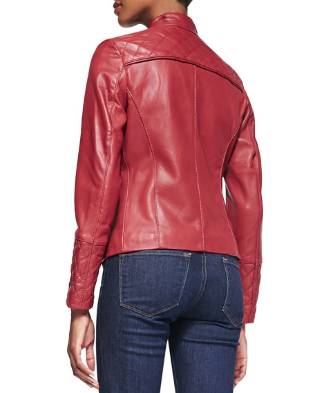 Quilted-Back Stand-Collar Leather Moto Jacket
