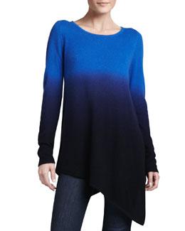 Neiman Marcus Ombre Cashmere Asymmetric Tunic