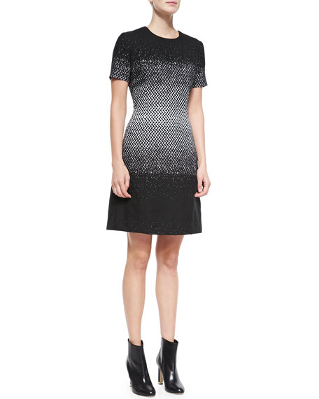 Neiman Marcus Short-Sleeve Printed Dress