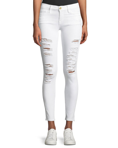 FRAME DENIMLe Color Rip Skinny Distressed Jeans, Blanc