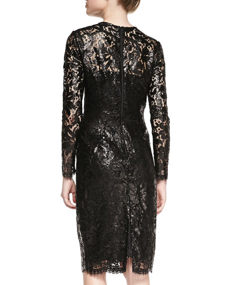 Lacquered Lace Slim Cocktail Dress