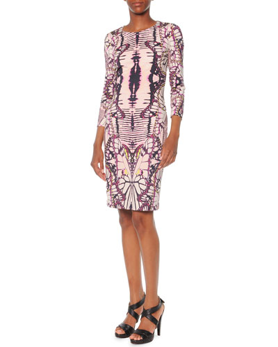 3/4-Sleeve Butterfly-Print Dress