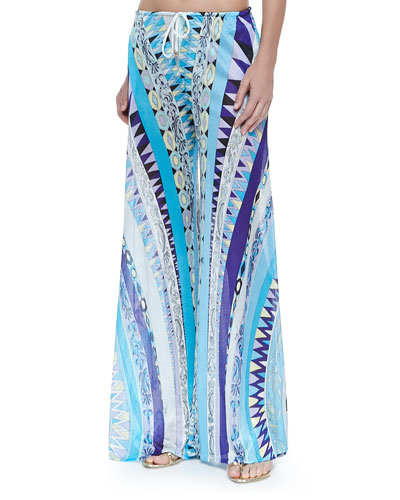 Printed Coverup Trousers, Blue