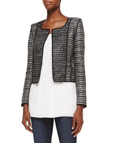 Milly Cropped Open-Front Cardigan w/ Piping