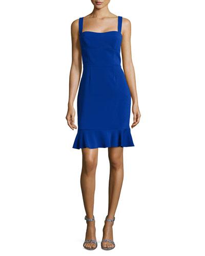 Sleeveless Fitted Bustier Flounce Dress, Blue