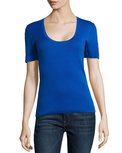 Scoop-Neck Short-Sleeve Cashmere Top, Royal