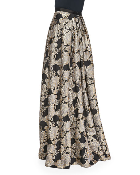 Metallic Floral Jacquard Ball Skirt