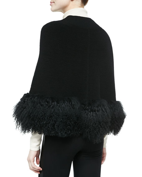 Captivating Fur-Hem Cape