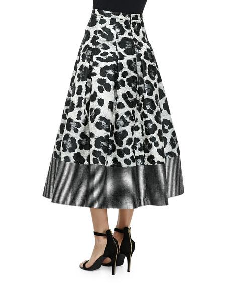 Wisteria Leopard-Print Pleated Midi Skirt
