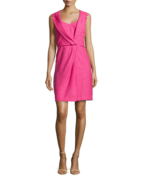 Linen Dress w/Lapel, Fuchsia