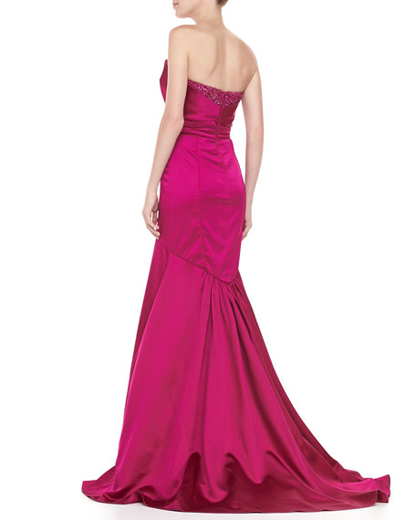 Strapless Origami-Bodice Mermaid Gown