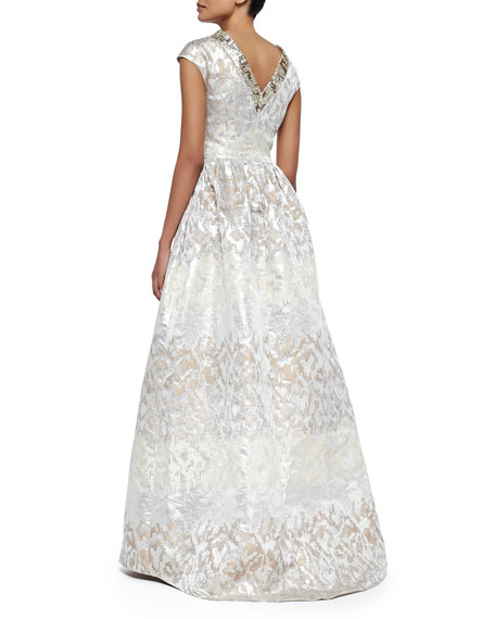 Beaded-Collar Jacquard Evening Gown