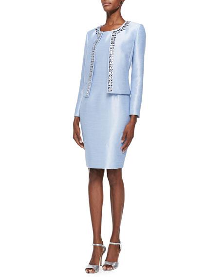 Albert Nipon Sleeveless Sheath Dress & Jeweled Jacket Set
