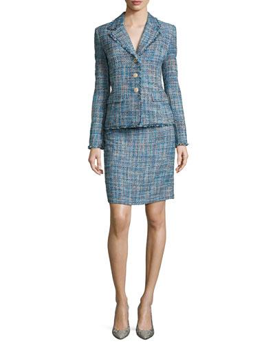 Long-Sleeve Tweed Jacket W/ Matching Skirt