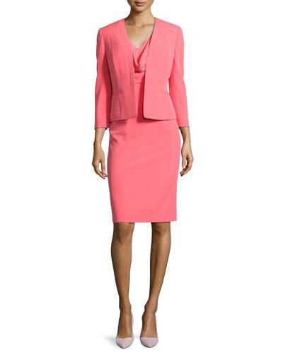 Draped Sheath Dress W/ Matching Jacket