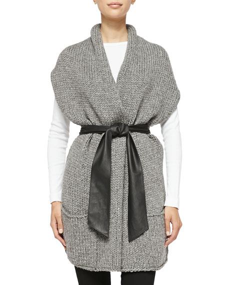 Short-Sleeve Cardigan W/ Faux Leather Belt