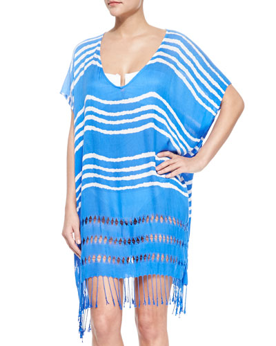 Utopia Striped Cutout Caftan Coverup