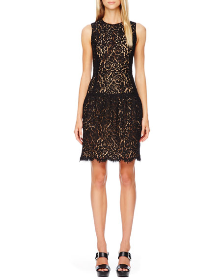Drop-Waist Lace Dress, Black