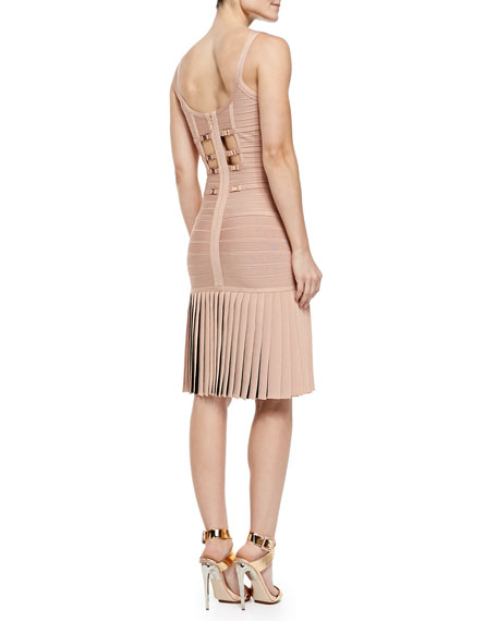 Herve Leger Milena Pleated Bandage Dress, Pink Champagne