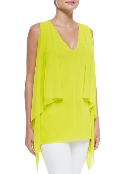 Fuzzi Sleeveless Draped V-Neck Top