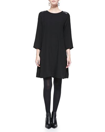 Silk Sequin-Shoulder Dress, Black, Women's