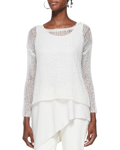 Eileen Fisher Mohair Mesh Long-Sleeve Top, Women's