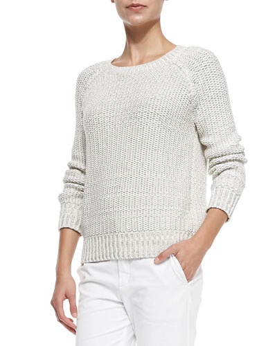 Vince Mixed-Knit Rib-Trim Sweater