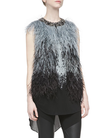 Ostrich Feather Vest W/ Embellished Neck