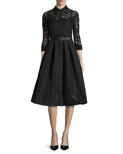 c59bf6e1b87b5 Lace Full-Skirt Belted Cocktail Shirtdress Rickie Freeman for Teri Jon