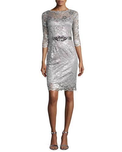 Lace Cocktail Dress W/ Jewel, Charcoal