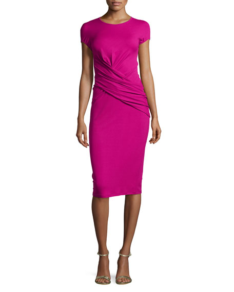 Michael Kors Cap-Sleeve Drape-Waist Dress, Peony