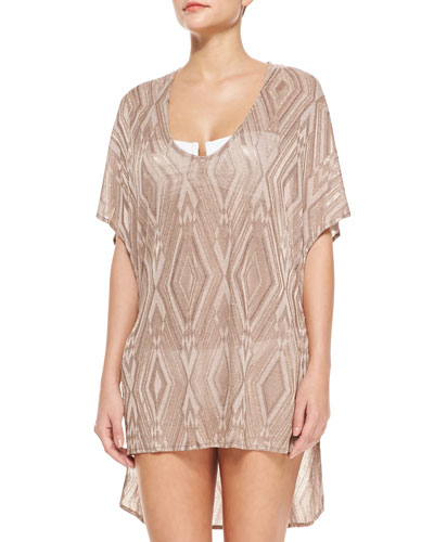 Il Pelican Short-Sleeve Crochet Diamond-Print Poncho