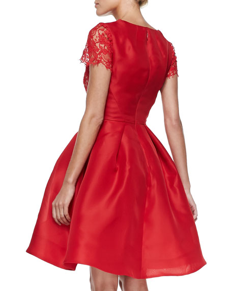 Floral-Lace & Gazar Fit-and-Flare Dress, Rouge
