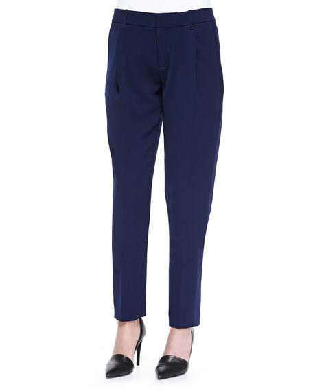 Vince Satin-Striped Tuxedo Trousers, Blue Marine