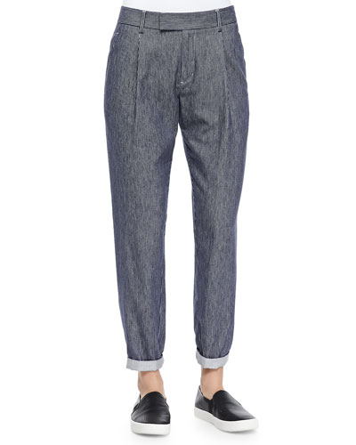 Vince Railroad-Stripe Tapered Cotton Trousers