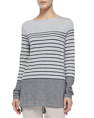 Vince Mixed-Stripe Slub Tee, Heather Gray