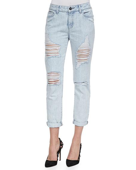 Nolita Distressed Rolled-Cuff Jeans, Hockney