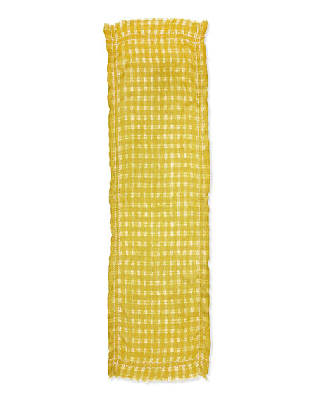 Eileen Fisher Airy Grid-Striped Linen/Wool Scarf, Peridot