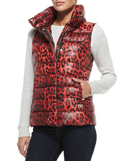 Packable Animal-Print Zip-Front Puffer Vest