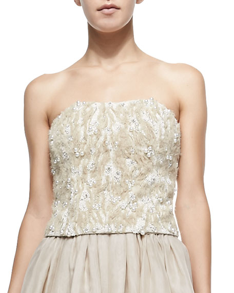 Alice + Olivia Sabel Feather/Bead-Embellished Bustier Top